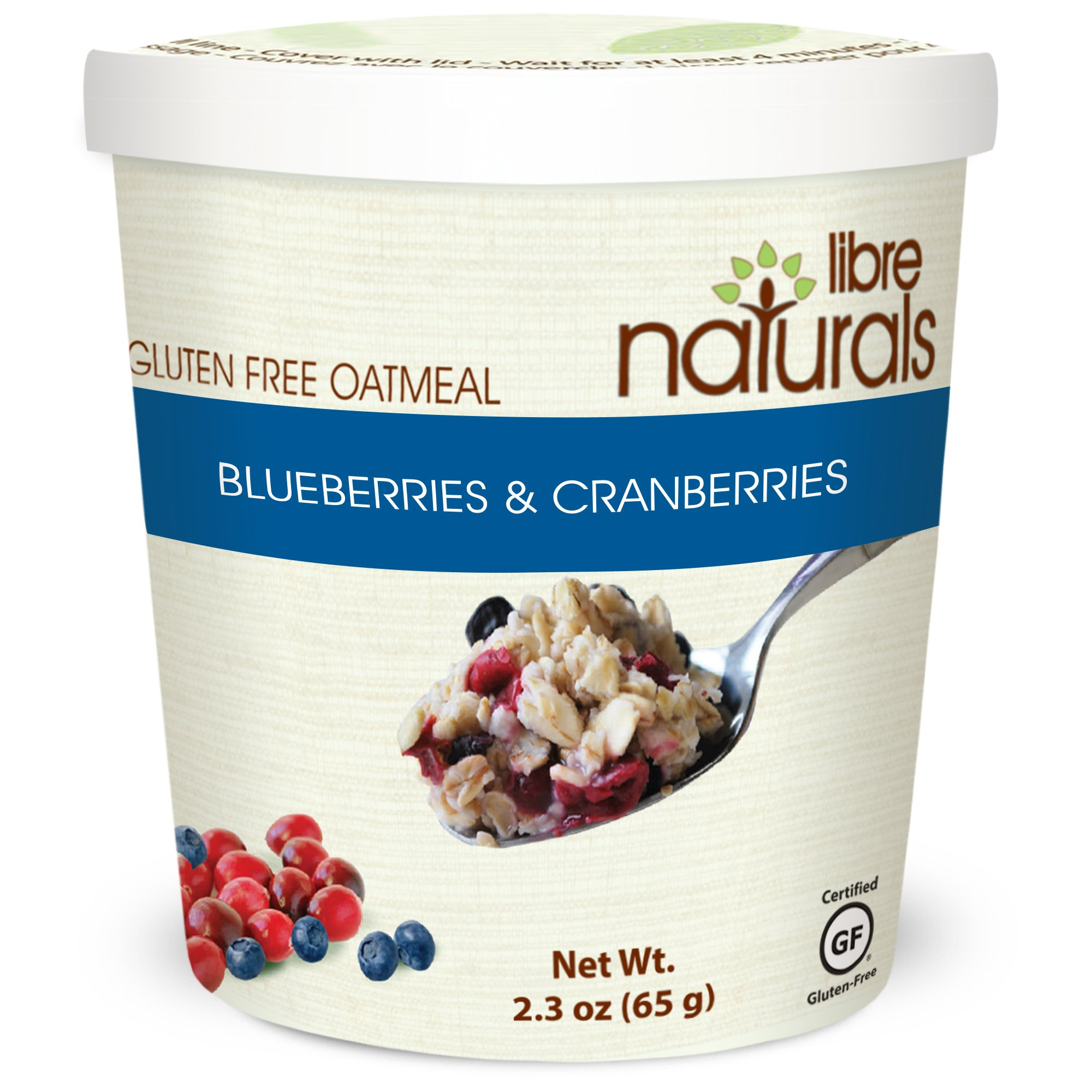 Nut Free, Gluten Free >> Blueberries and Cranberries Oatmeal Cup by Libre Naturals, 2.3 oz/65 gram, Case of 12