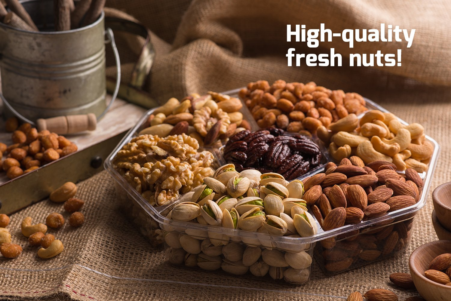 Mother's Day Nuts Gift Basket | Large 7-Sectional Delicious Variety Mixed Nuts Prime Gift | Healthy Fresh Gift Idea For Christmas, Easter, Mothers & Fathers Day, And Birthday by Nut Cravings (Image #4)