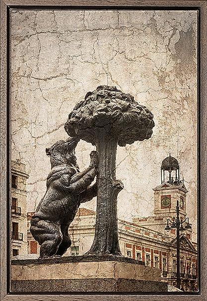 TEXFOTO Cuadro Enmarcado - Oso y madroño en Madrid- Fotografía artística y Moderna Listo para Colgar - Hecho a Mano en España (40_x_60_cm): Amazon.es: Hogar