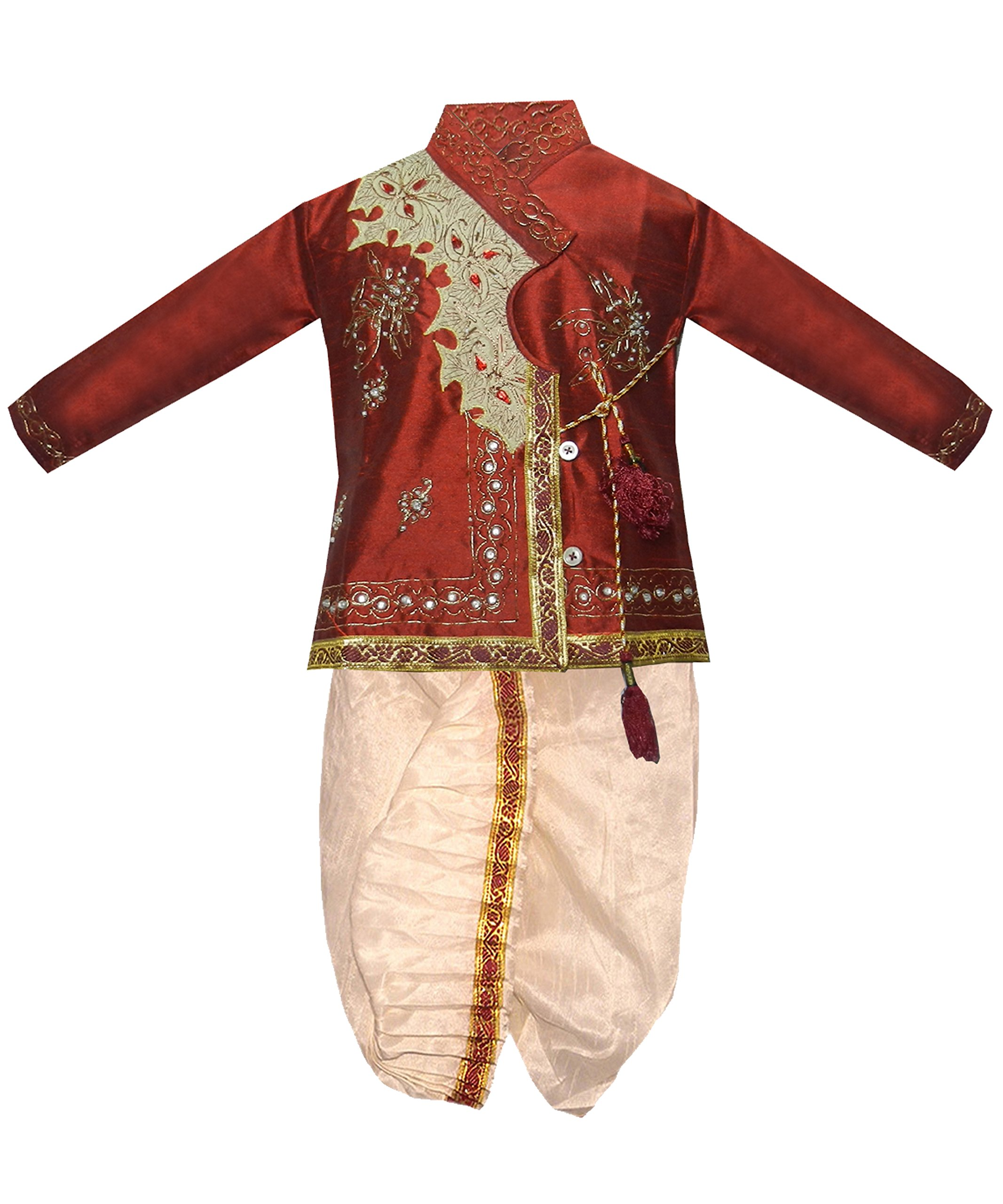 JBN Creation Boys' Maroon Cotton Silk Kurta Dhoti Pant Set(VASBDK001_20)