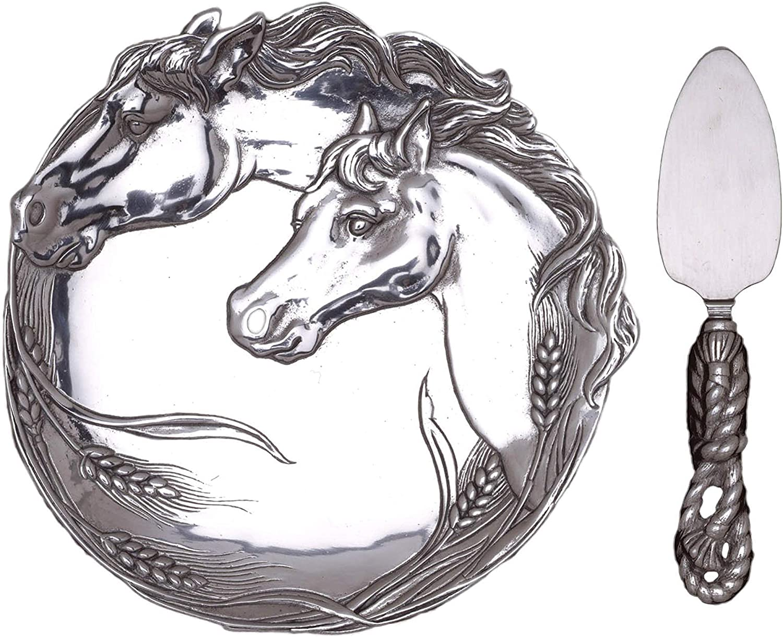 "Arthur Court Designs Aluminum Horse Plate with 7"" Server Knife"