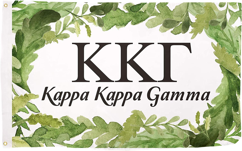 Kappa Kappa Gamma Watercolor Leaves Flag Banner 3 feet x 5 feet Sign Decor (Flag - Watercolor Leaves)