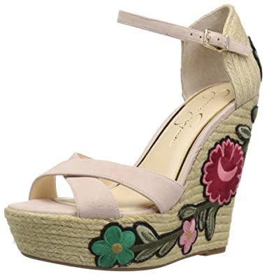 4dfe3f8b9f97 Jessica Simpson Women s APELLA Wedge Sandal Ballerina 8.5 Medium US