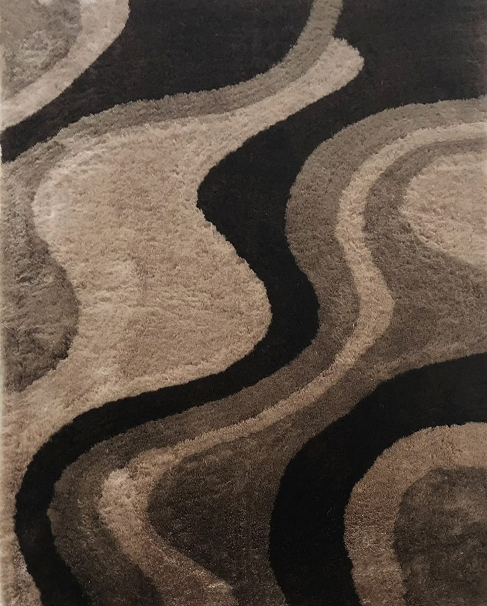 "Casa Regina Shaggy Collection - 3D Design - Abstract Waves Brown Beige Soft Shag Area Rug 5x7 (53"" x 73"")"