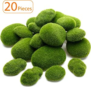TecUnite 20 Pieces Artificial Moss Rocks Decorative Faux Green Moss Covered Stones (5 Size)