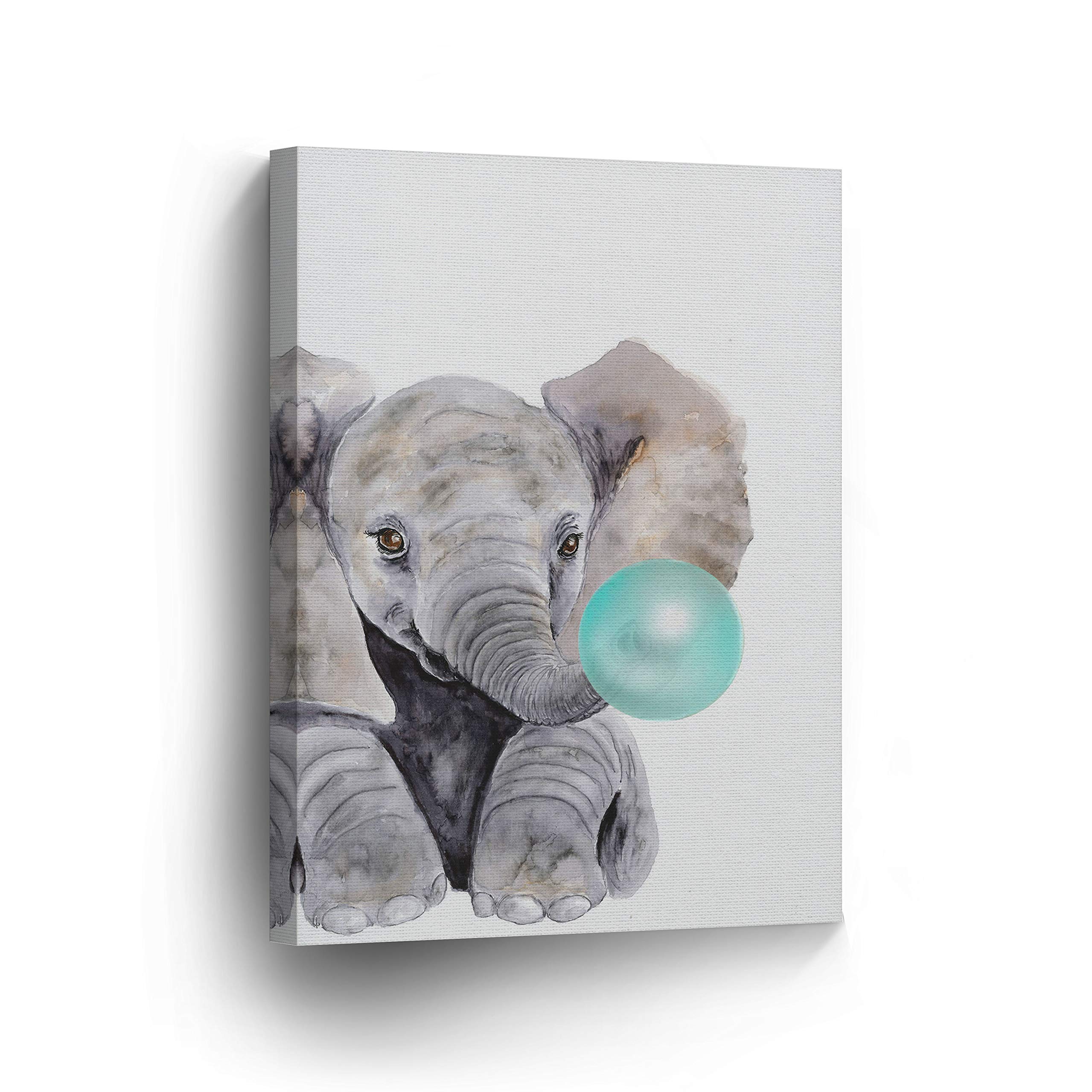 Cute Baby Elephant Animal Bubble Gum Art Teal Blue Canvas Print Watercolor Painting Wall Art Home Decoration Pop Art Kids Room Decor Stretched Ready to Hang-%100 Handmade in The USA - 12x8