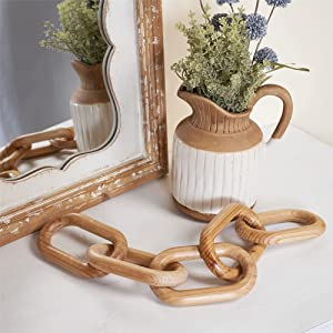 GENMOUS & CO. Wooden Chain Home Decor Farmhouse Decorative 5-Link Chain Decor Hand-Carved Wood Crafts Ornaments for Rustic Country Coffee Table Farmhouse Tiered Tray Table (Natural Wood ,22.75 INCHES)
