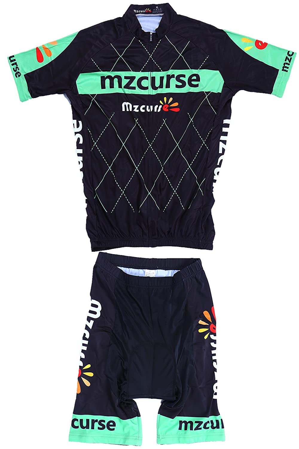 Green Large,please check the size chart Mzcurse Men's Short Sleeve Shirt Jersey + 3D Padded Pants Shorts Set