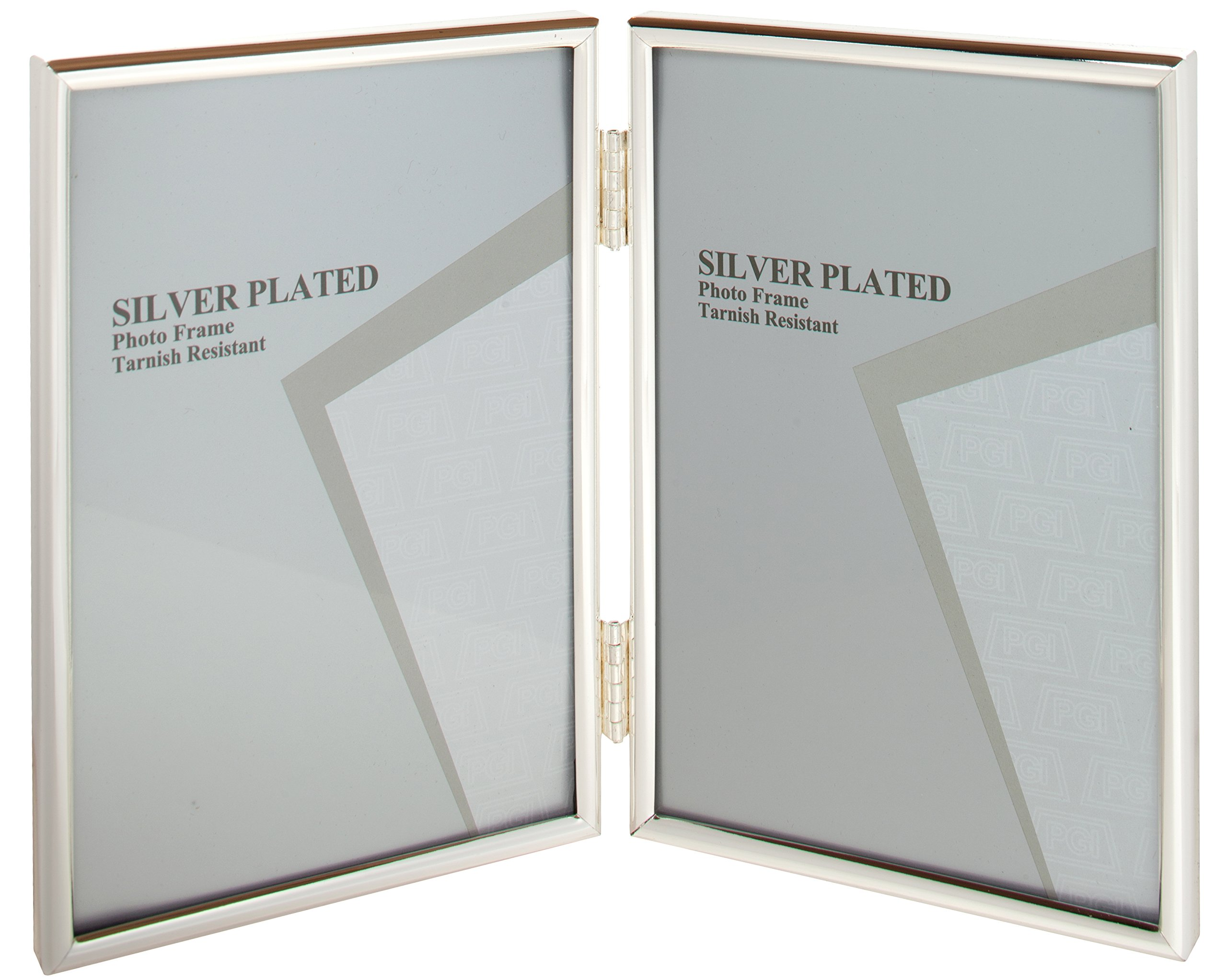 Viceni Silver Plated Thin Edge Hinged Double Aperture Photo Frame, 5'' by 7'', Inch by Viceni