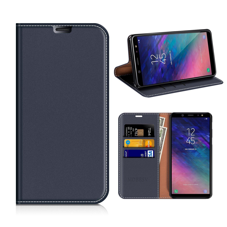 MOBESV Smiley Funda Cartera Samsung Galaxy A6 Plus 2018, Funda Cuero Movil Samsung A6+ 2018 Carcasa Case con Billetera/Soporte para Samsung Galaxy A6 Plus 2018 - Azul Oscuro/Aqua FOX-SGA62018PLUS-LCS005
