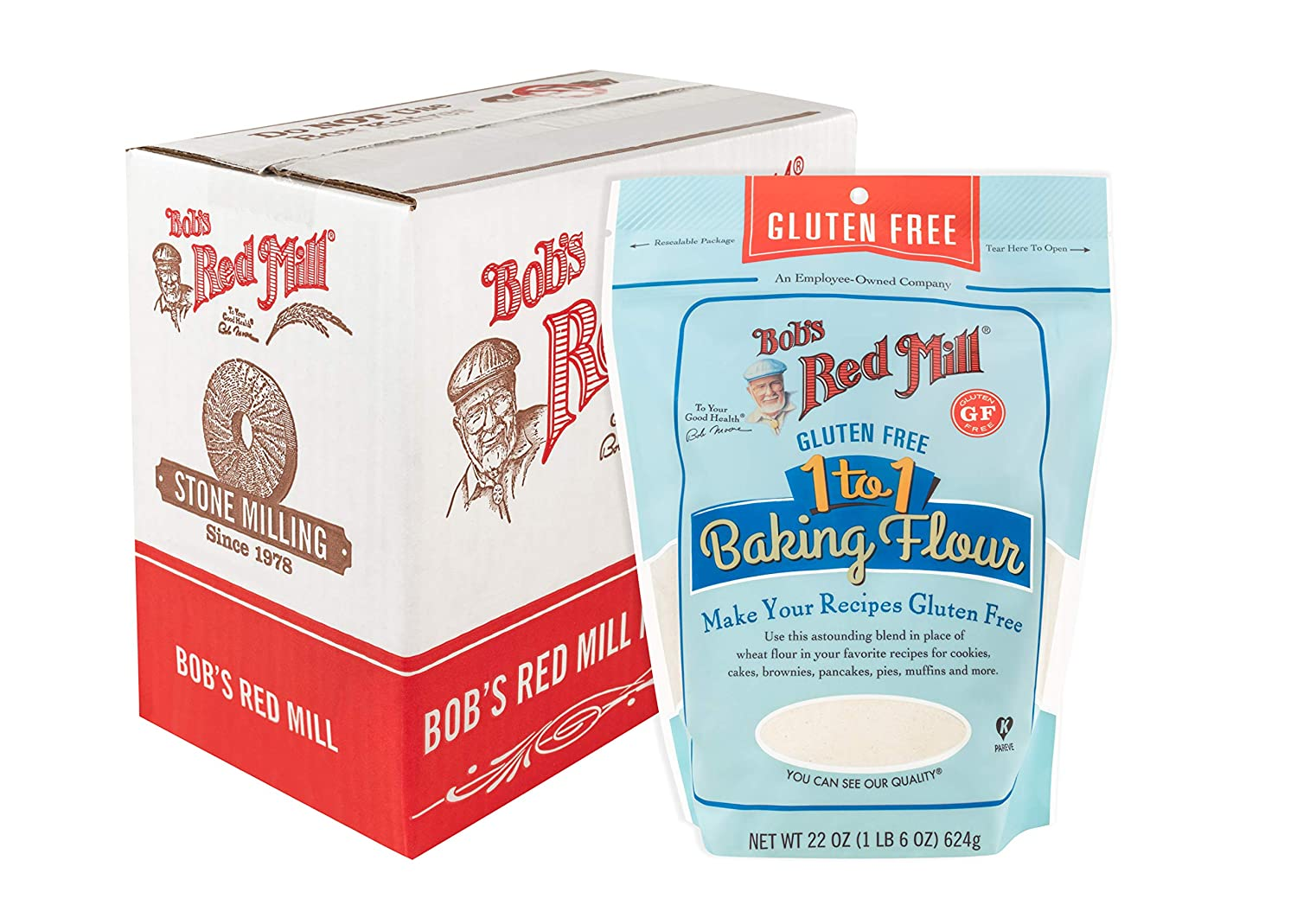 Bob's Red Mill Bob's Red Mill Gluten Free 1-to-1 Baking Flour, 22 Ounce, Pack of 4