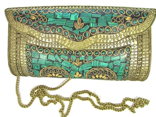 c67e22721cbbd Amazon.com: Green Stones Mosaic Handmade Golden Antique Brass Metal Evening  Bag Clutch Purse Handbag w/Strap: Handmade