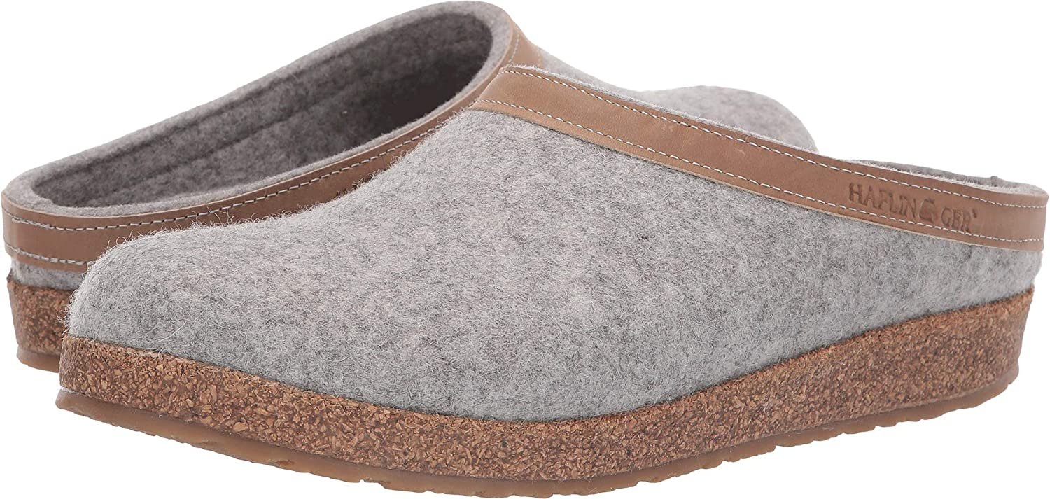 Stone Haflinger Unisex GZL Leather Trim Grizzly Clog