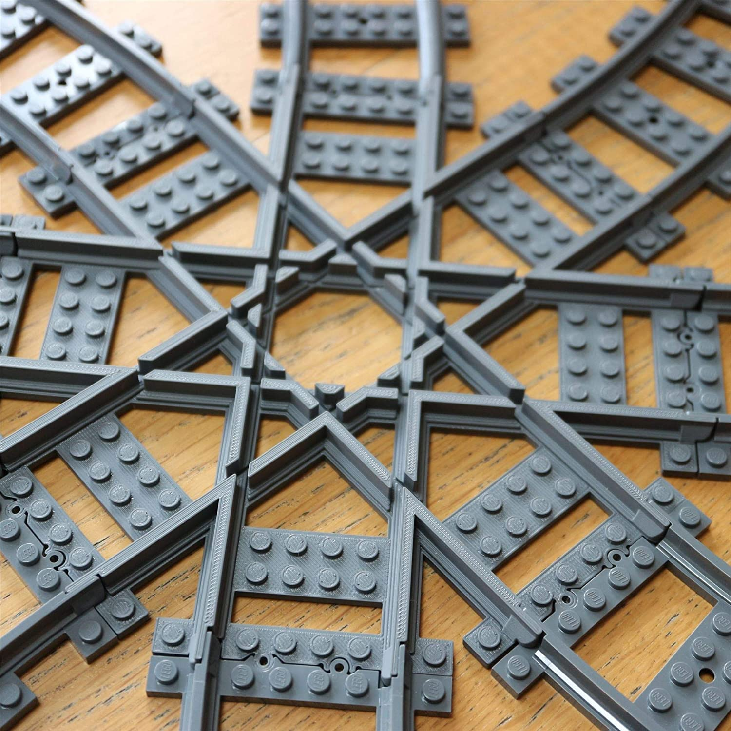 Straight Tracks Crossover Track Multi V2 Compatible with Lego Custom Cross Track Straight Cross Tracks Crossover Compatible with Lego Train Rails and Sets