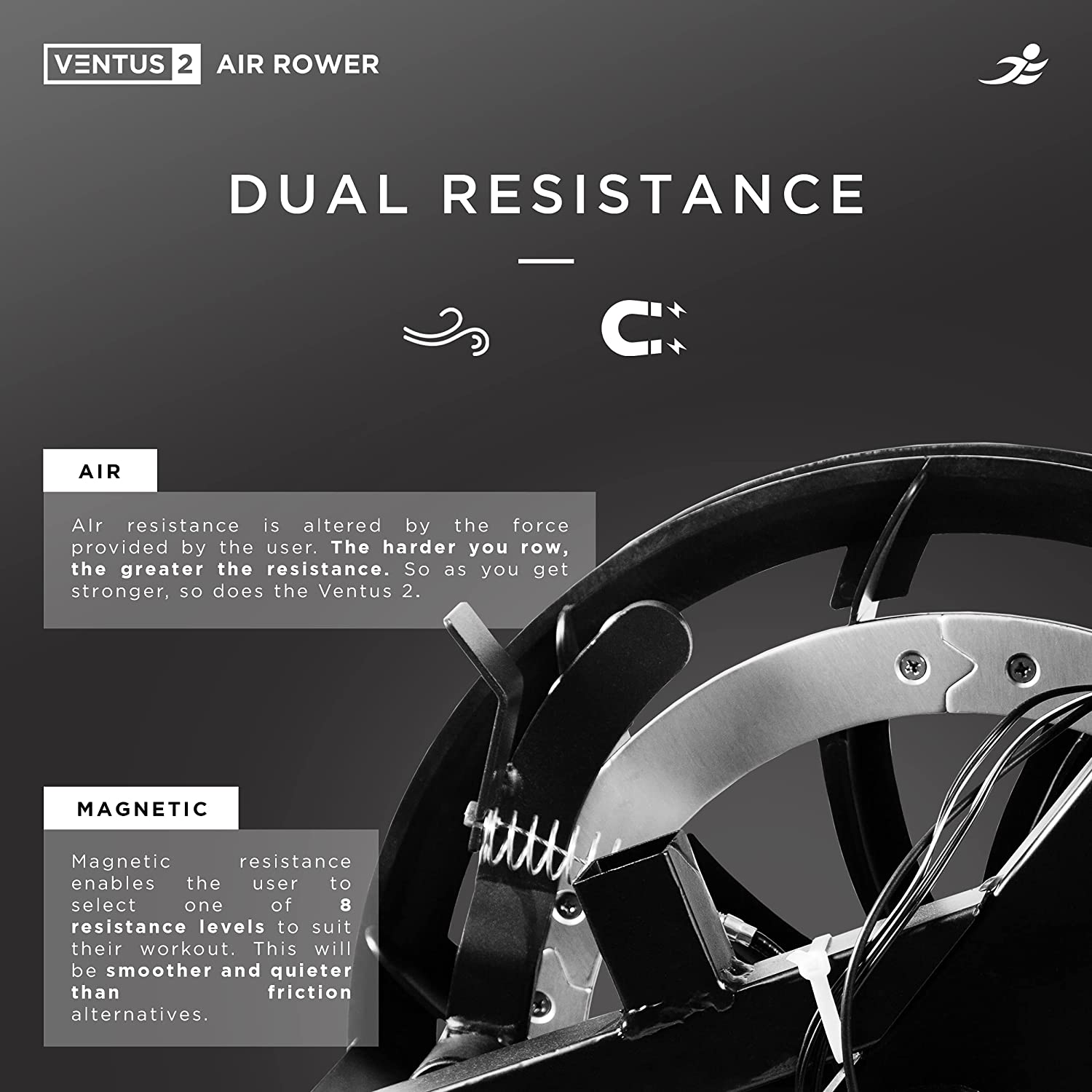 JLL Ventus 2 Air Resistance Home Rowing Machine - Dual Resistance (Air and Magnetic)