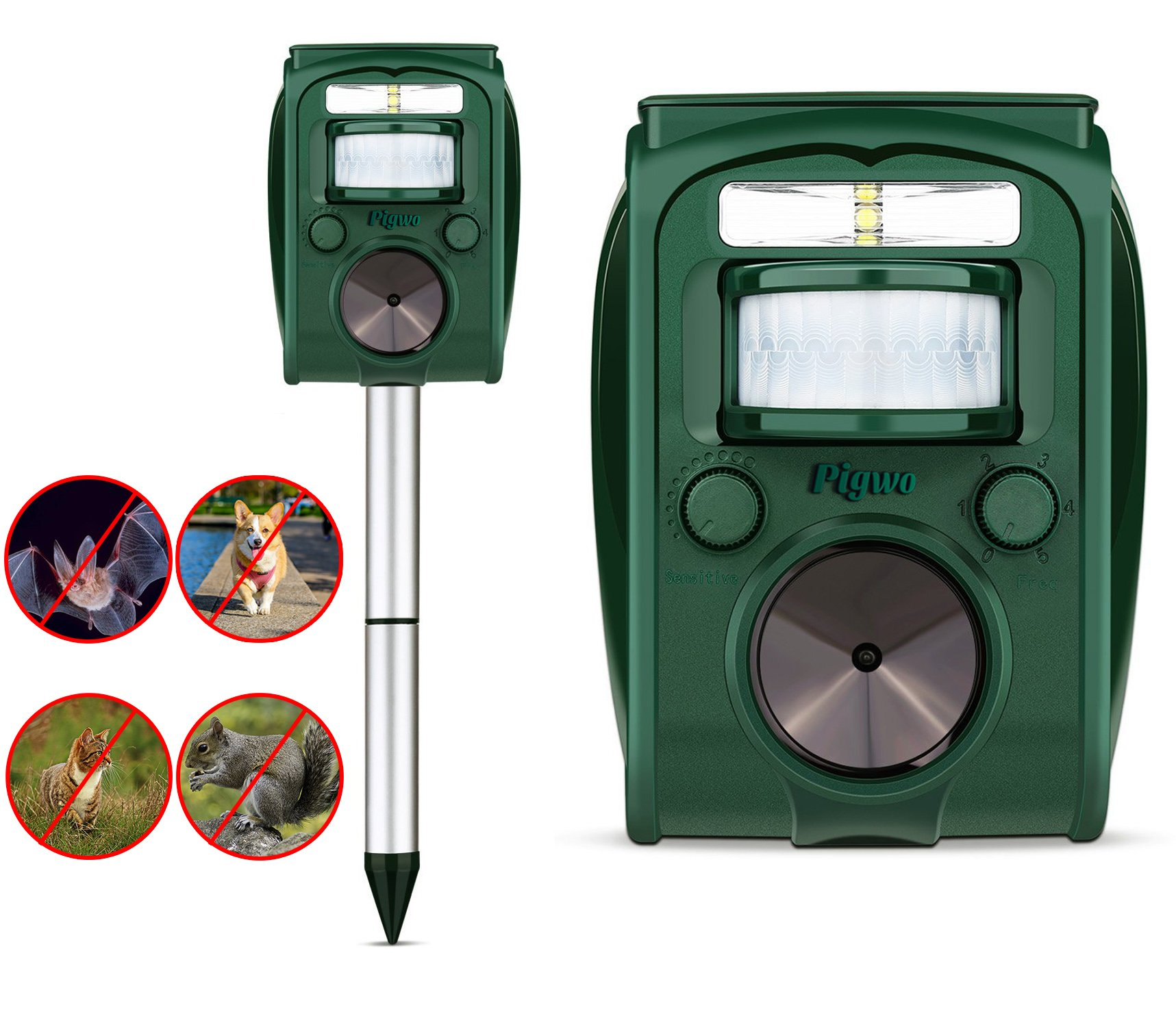 PIGWO Animal Repellent Ultrasonic Outdoor- Solar Powered- Waterproof- Rodent Repeller- Effective & Powerful with Motion Activated -Repel All Pests Animals -Fox,Cat,Dog,Deer,Squirrels,Raccoon & More