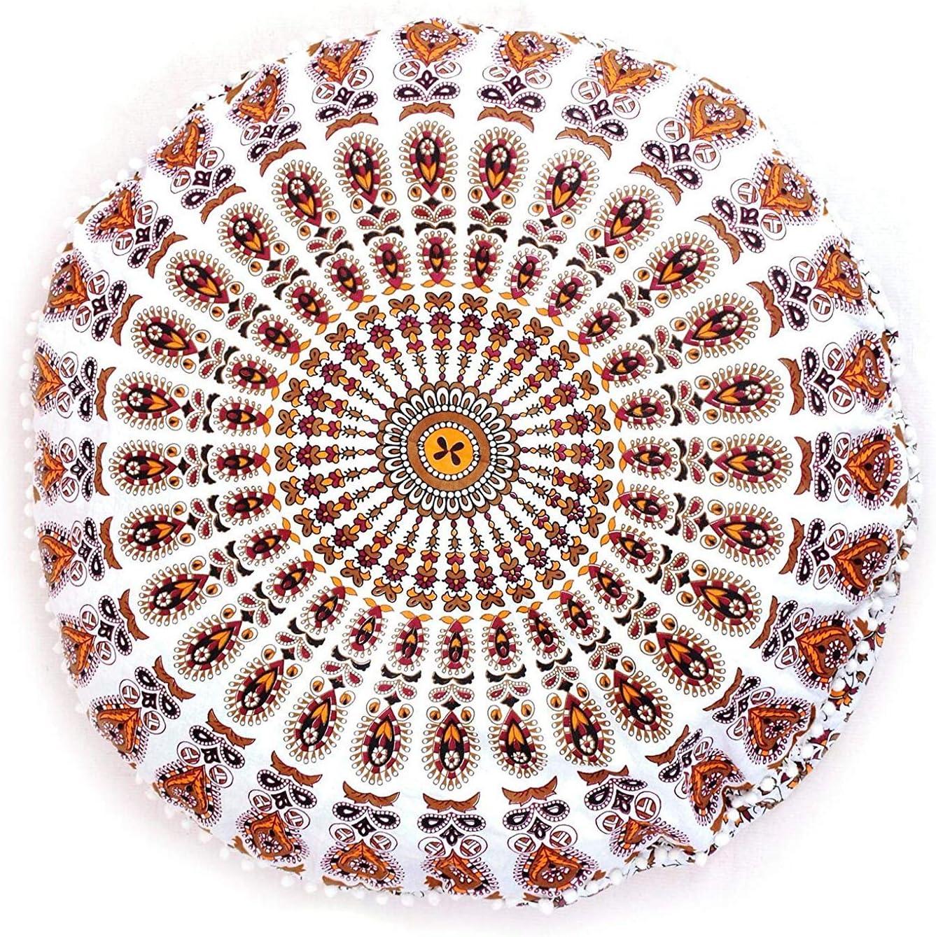 Psychedelic Horoscope Astrology Zodiac Sign Pouf Tie Dye Boho Indian Large Shams Celestial Virgo Sun Moon Stars Symbol Modern Floor Pillows Cushion Seating Throw Cover Decor Round Meditation Ottoman