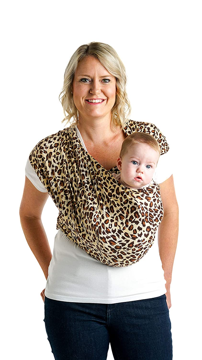 S Leopard Love Carry Newborn up to 35 lbs Simple Wrap Holder for Babywearing Infant and Child Sling No Rings or Buckles W Dress 6-8 // M Jacket 37-38 Baby K/'tan Print Baby Wrap Carrier