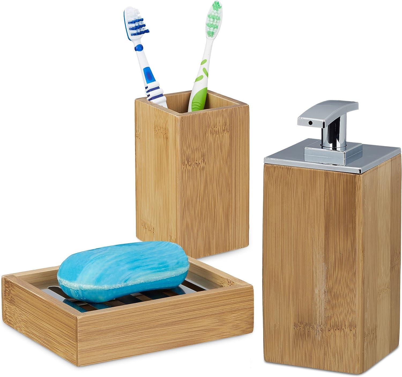 Porta Saponetta con Griglia di Scolo Design Naturale Relaxdays Set Accessori Bagno 2 Pezzi in bamb/ù Bicchiere Portaspazzolini Marrone