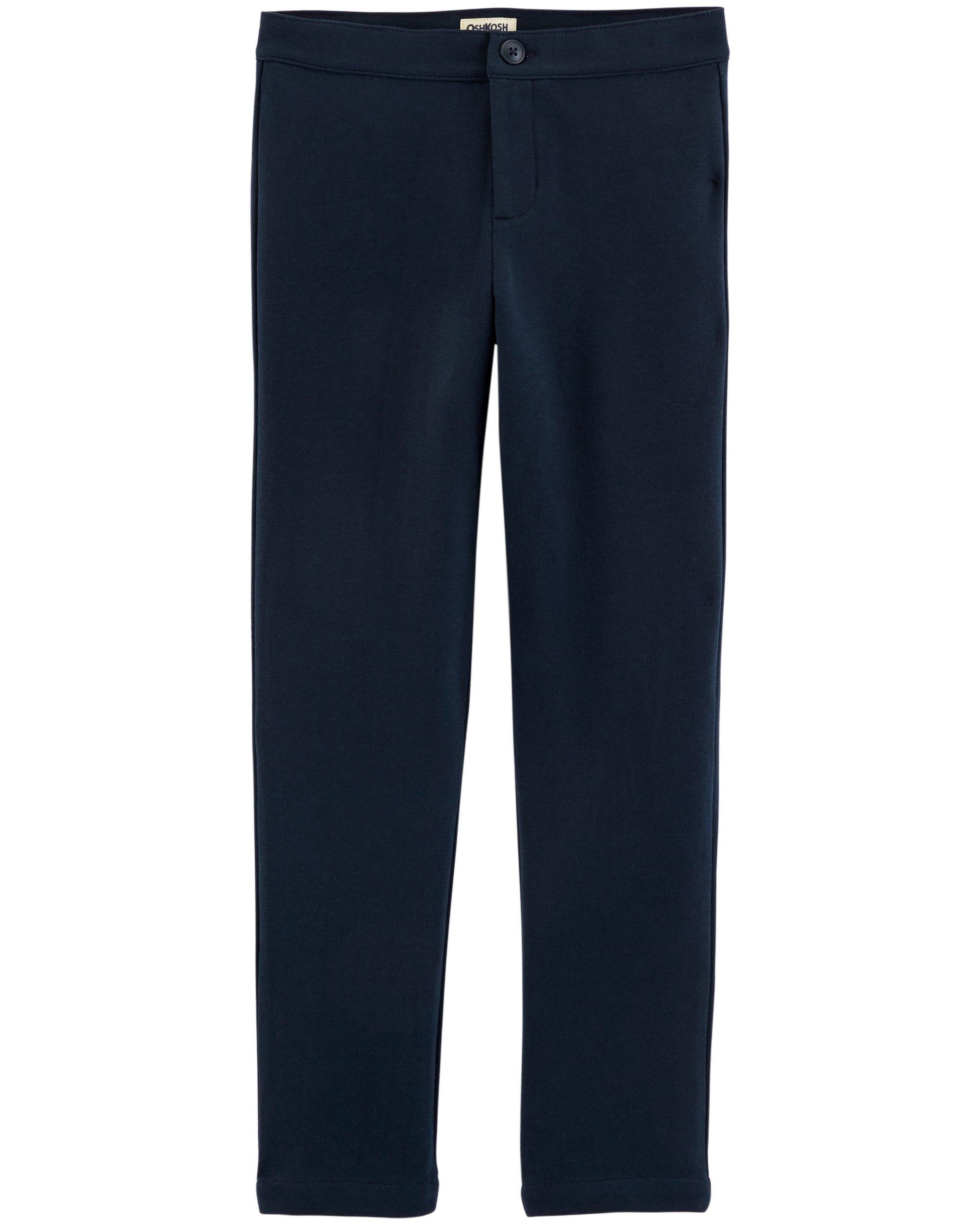 Osh Kosh Girls' Kids Uniform Ponte Pant, Navy, 14
