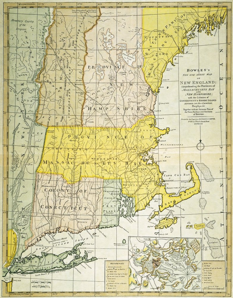 New England Map C1775 Nengraved Map C1775 Of Colonial New England Thought To Be The Last Such Map Printed Before The American Revolutionary War Poster Print by 24 x 36