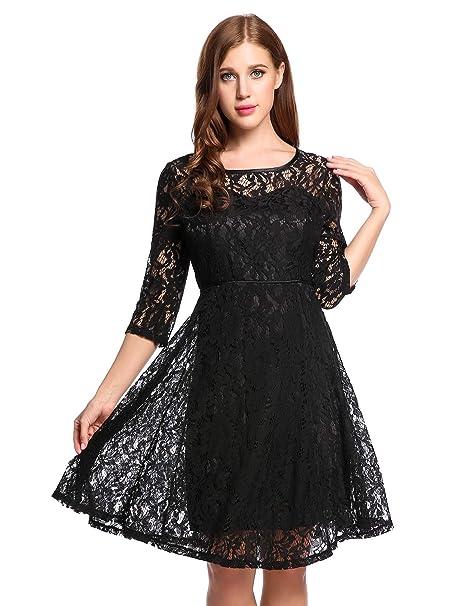 0cec78f4b Meaneor Vestidos para Mujer de Encaje Elegante Dobladillo Plisadode de Fiesta  Negro L  Amazon.es  Ropa y accesorios