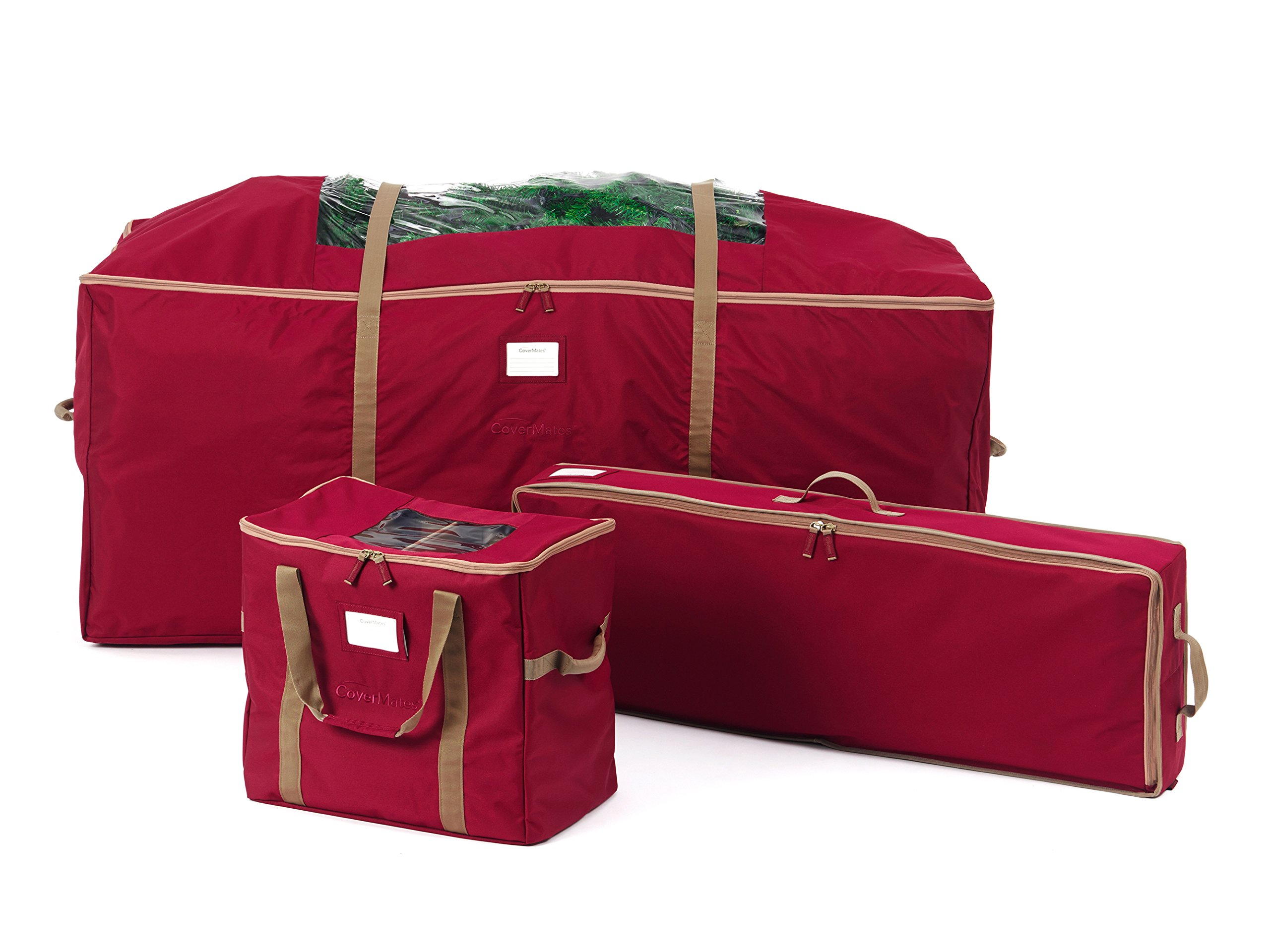 CoverMates – 3PC Holiday Storage Set (48'' Tree Storage Bag + Deluxe Gift Wrap + 60PC Ornament Storage Bag) – 3 Year Warranty- Red by CoverMates