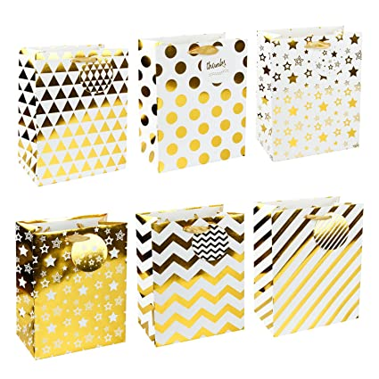 LaRibbons Large Gold Gift Bags - Polka Dot Stripes Chevron Stars Triangle  sc 1 st  Amazon.com & Amazon.com: LaRibbons Large Gold Gift Bags - Polka Dot Stripes ...