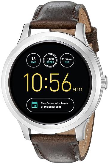 Fossil ftw20011 Q Fundador Digital Inteligente Reloj con Banda de piel color marrón oscuro