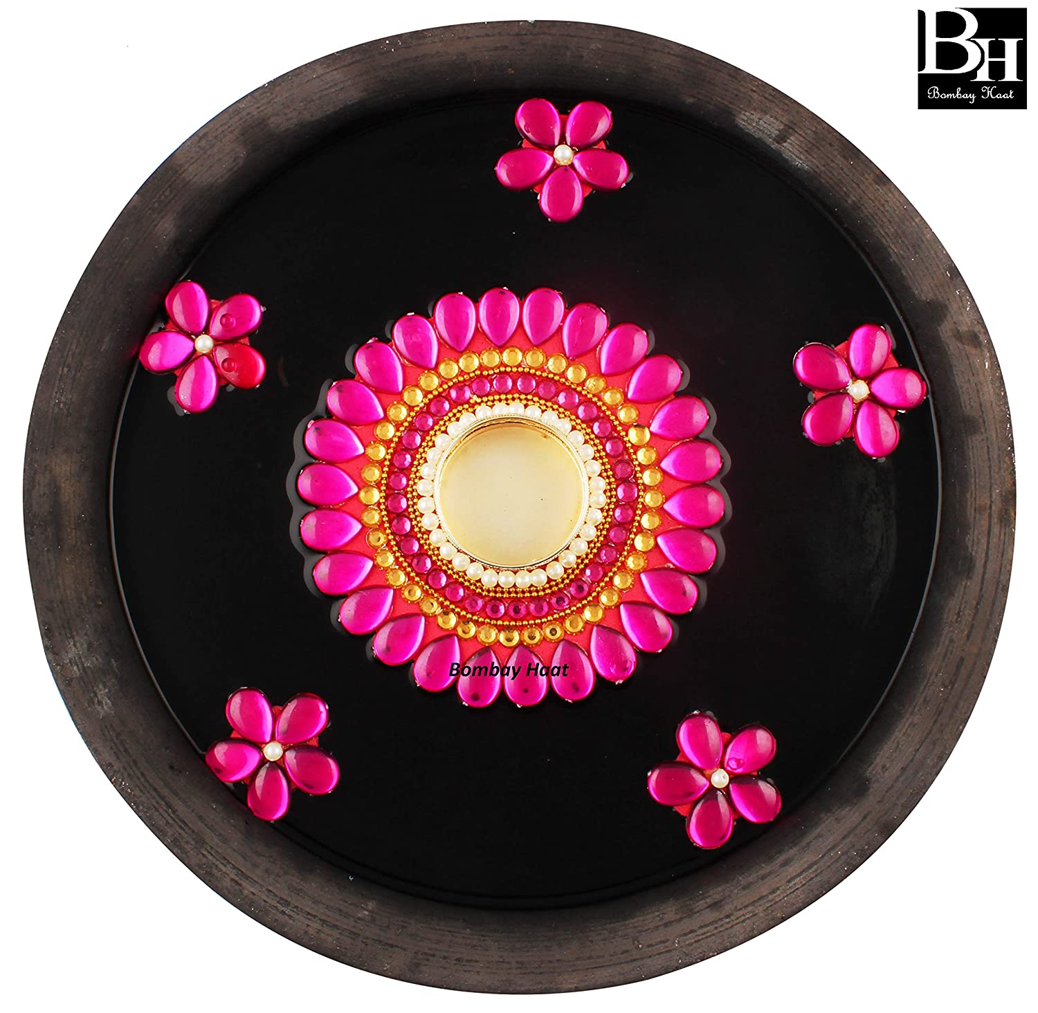 Bombay Haat Handcrafted Floating Tealight Candle Holderfloating Diya With 5 Floating Flowers For Home Decorchristmas Decorationchristmas Gift Hot