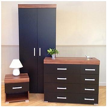 Tremendous Drp Trading 3 Piece Black Walnut Bedroom Furniture Set Wardrobe 4 4 Drawer Chest 1 Draw Bedside Table 8 Complete Home Design Collection Epsylindsey Bellcom