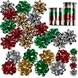 30 Christmas Gift Bows Self Adhesive + 8 Rolls of Christmas Curling Ribbons! Check Sizes in Description!