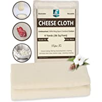 Excellent Deals CheeseCloth (90 Grade, 36 Sq Feet) - 4 Yards Reusable 100% Unbleached Cotton Fabric- Premium Quality…