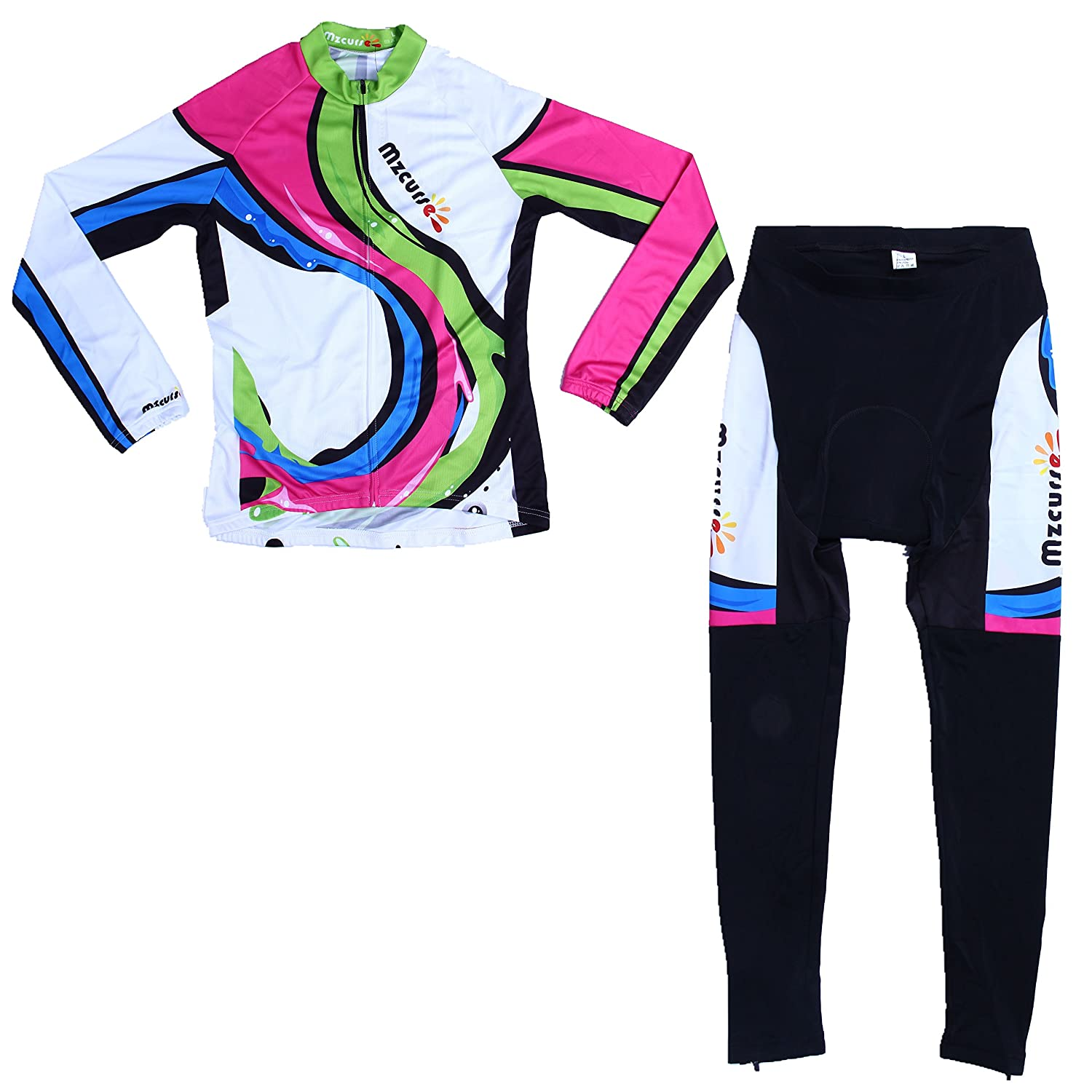 Mzcurse Women's Long Sleeve Cycling Jersey Shirts + Compression Pants Set