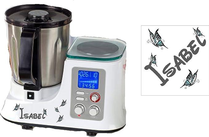 Robot de cocina pegatinas Mariposa Turquesa nombres para Studio km2014dg: Amazon.es