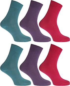 FLOSO- Calcetines lisos 100% algodón para mujer (pack de 6) (EUR ...