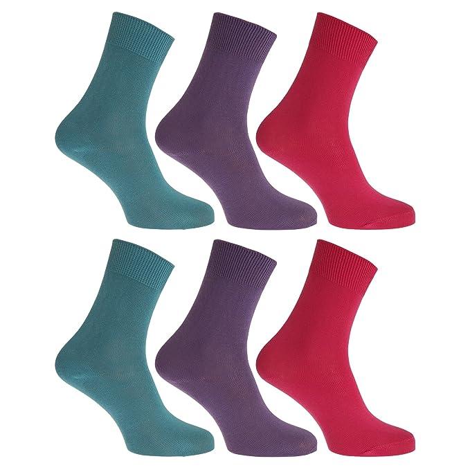FLOSO- Calcetines lisos 100% algodón para mujer (pack de 6) (EU