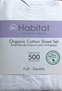 Habitat Organic Cotton Solid White 4pc Full Sheet Set Luxury Fine Linens 500 Thread Count