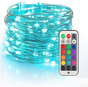 YIHONG Christmas Fairy String Lights USB Powered, 33ft Twinkle Lights with RF Remote, Color ChangeFirefly Lights - 13 Colors