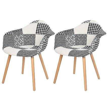 eSituro SDC0018 Lot de 2 Chaise de Cuisine Design Fauteuil Salon Salle à Manger siège en Lin Style scandinave, Patchwork