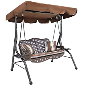 Sunnydaze 2-Seater Outdoor Rattan Patio Swing with Adjustable Tilt Canopy, Striped 2 Pillows and Seat Cushion, Brown