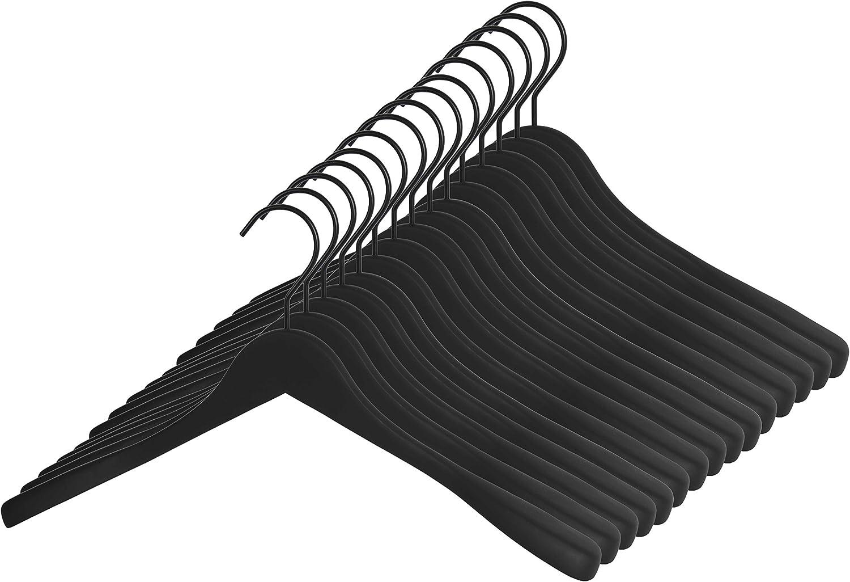 5x hochwertiger Premium Kleiderb/ügel aus Holz 45cm Breite schwarz beschichtet gummiert