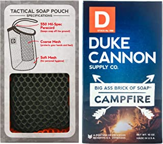 product image for Duke Cannon Supply Co. - Mens Soap On A Rope Tactical Scrubber Soap Bundle (2 Piece Set) Includes Tactical Body Scrubber and Big Ass Bar of Soap Campfire - Fresh Cut Hickory, Warm Woodsy Scent