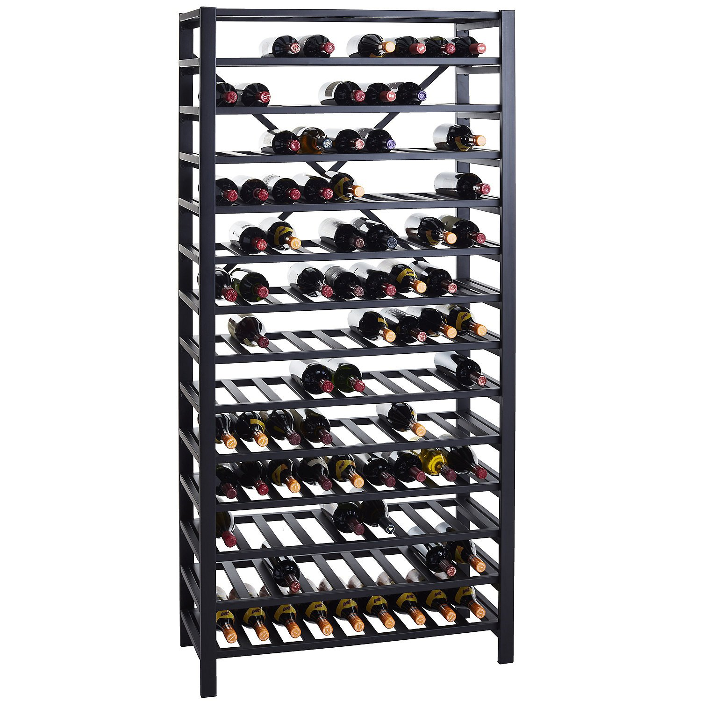 Wine Enthusiast Free Standing Metal Wine Rack Black Steel Holds 126 Bottles