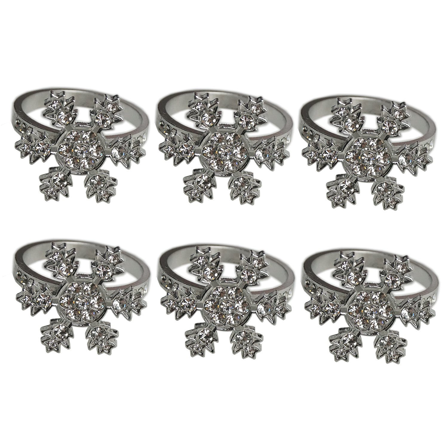 6 Counts Rhinestone Snowflake Napkin Rings Frozen Silver Ring Napkin Holder for Christmas Party Decoration by SHXSTORE