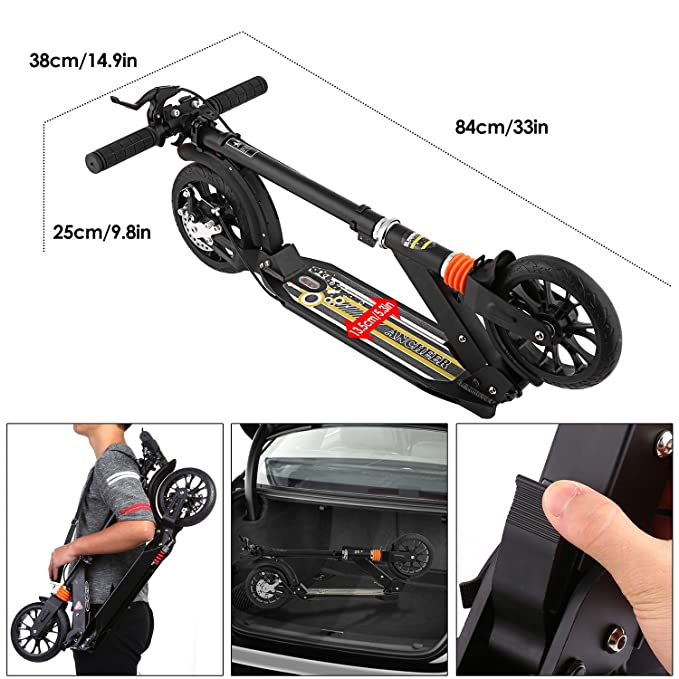 Amazon.com: ANCHEER Adult Teen Kick Scooter with Handbrake, City Urban Commuter Scooter - Easy-Folding, Dual Suspension, Height-Adjustable, 2 PU Wheels, ...
