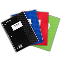 Mintra Office Spiral Notebooks - Wirebound for Student, Home, Office, Business (4x4 Graph, 4pk)
