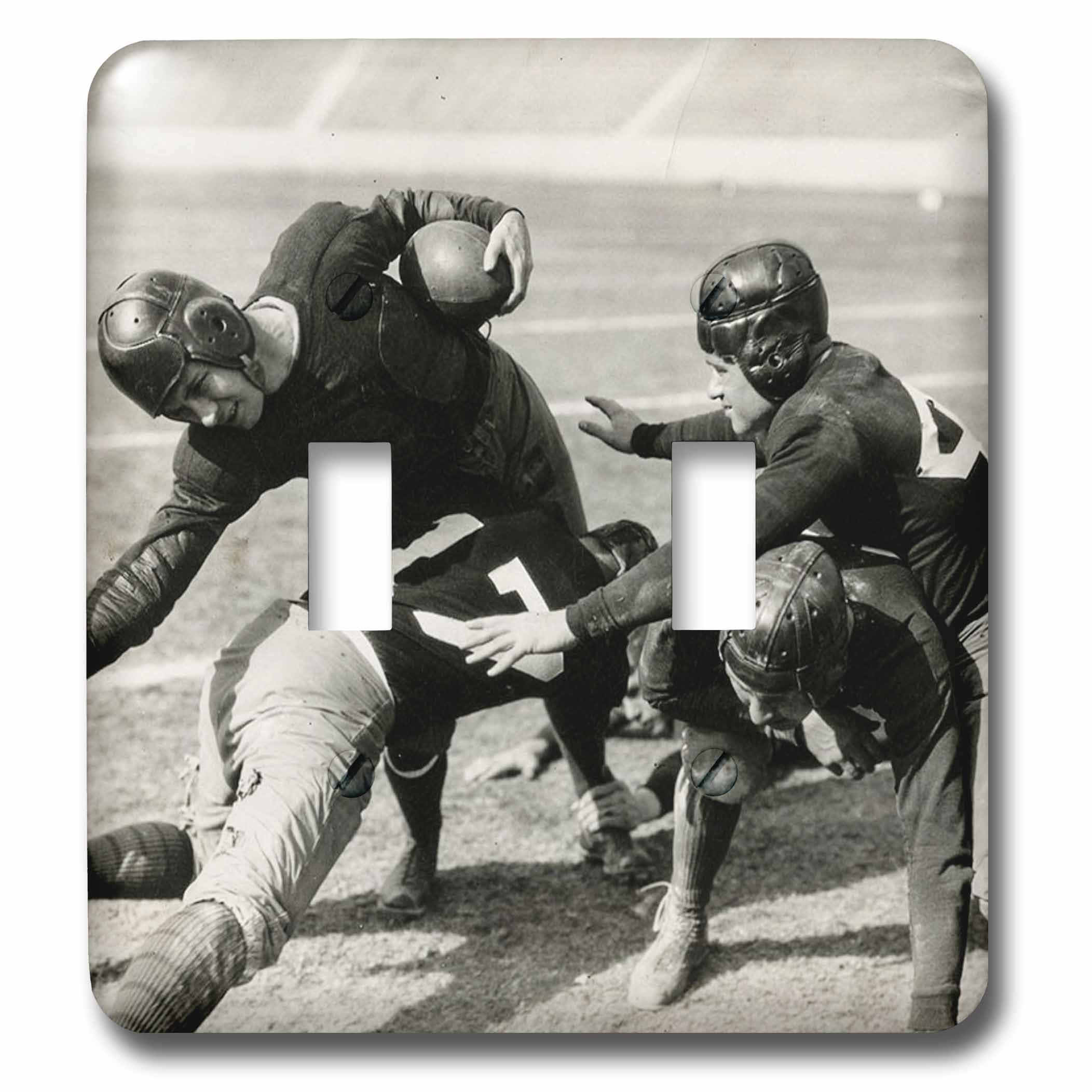 3dRose Scenes from the Past Vintage Stereoview Cards - 1928 Stereoview Image Hold Em College Football Silent Film Still - Light Switch Covers - double toggle switch (lsp_269974_2)