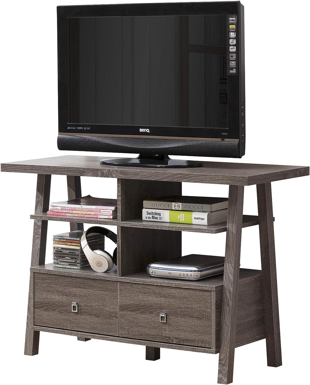 Desconocido Mueble de Entretenimiento para televisor con Acabado Reciclado, Color Gris, con Dos cajones y estantes Abiertos: Amazon.es: Juguetes y juegos