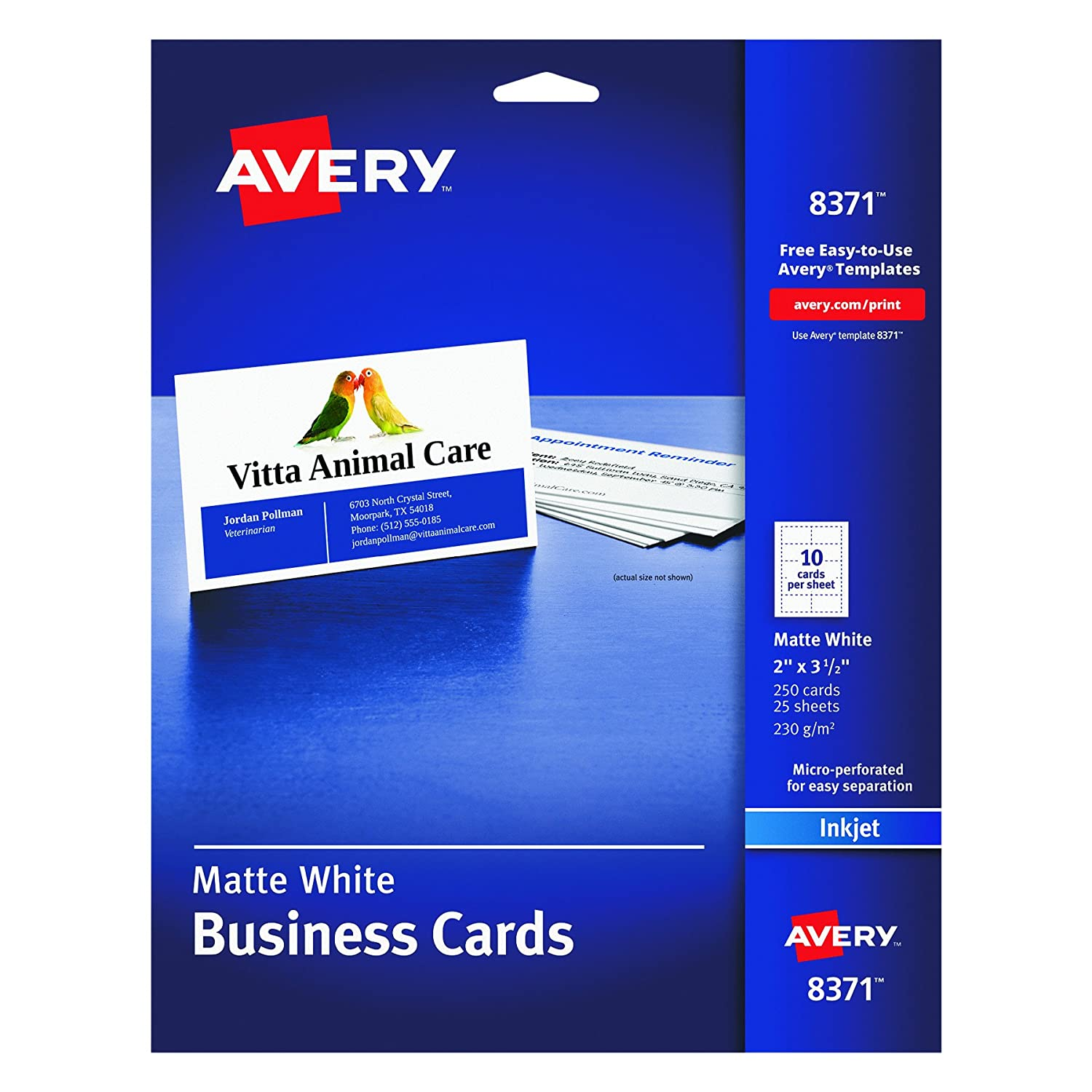 Amazon.com : Avery Business Cards for Inkjet Printers, Matte ...
